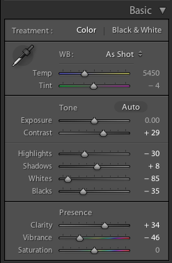 Lightroom edit settings